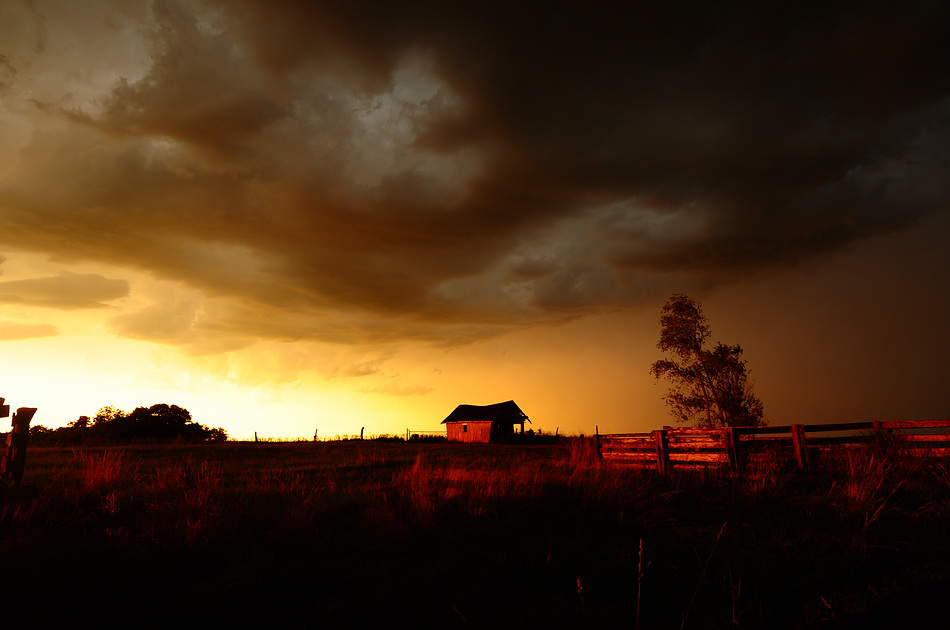 August Storm with Barn