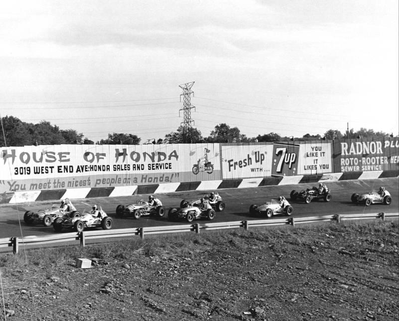1966 IMCA sprint car race pace lap.