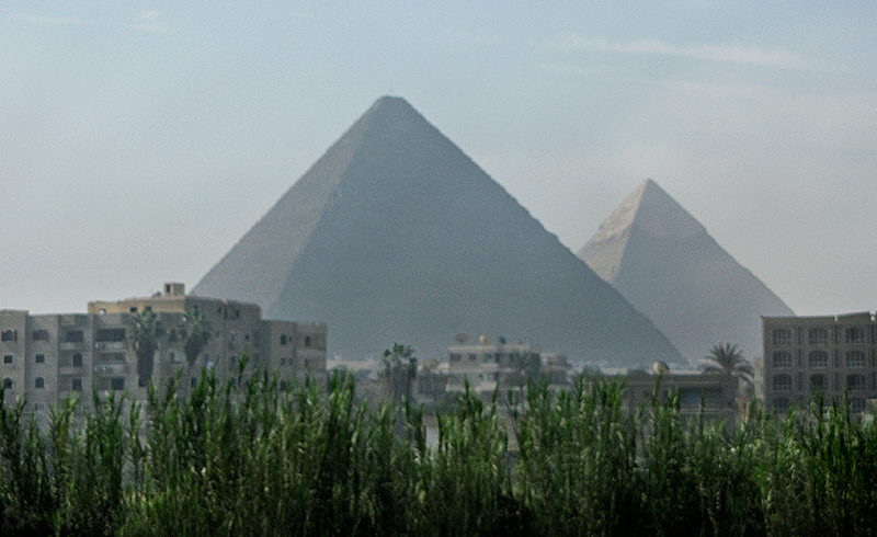 Nearing the pyramids at Giza - from our moving bus.