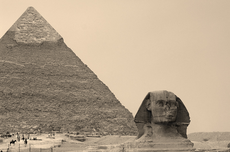Old-style monochrome version of entrance to pyramids