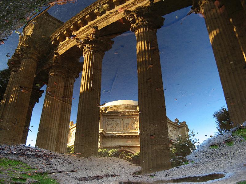 Rainy side up - peristyle and rotunda reflected