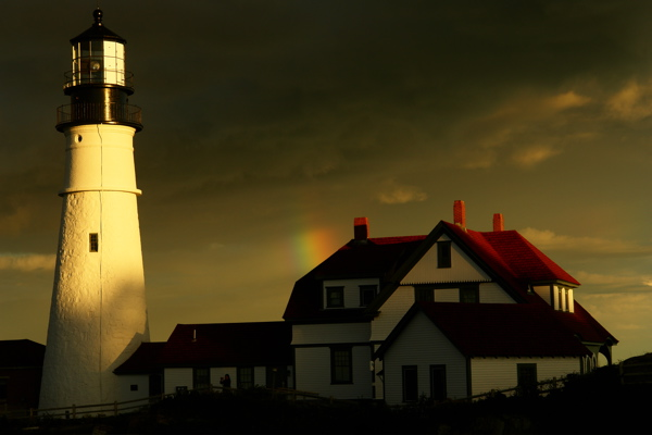 87MEANDERING FENCE AND SHADOW PLAY...PORTLAND HEAD LIGHT LIGHTHOUSE by donald verger please comment your fave!