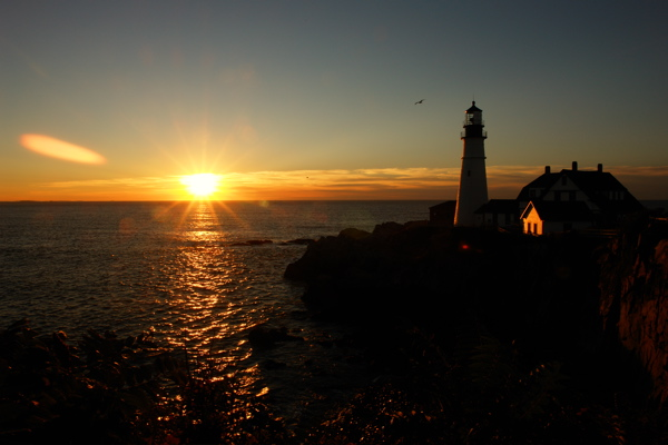 DSC09850.jpg SUNRISE PPORTLAND HEAD LIGHT by donald verger the first kiss of light