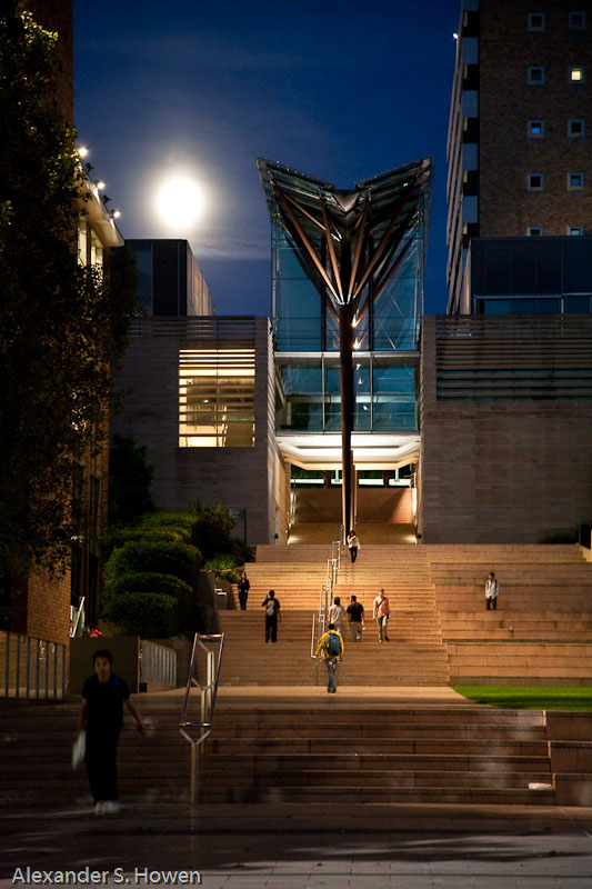 Scientia Building and a full moon