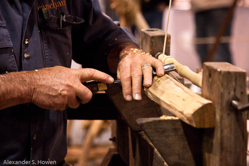 Pole lathe in action