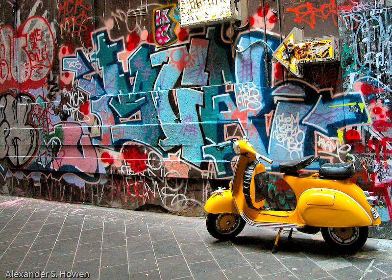 Yellow scooter in a Melbourne lane