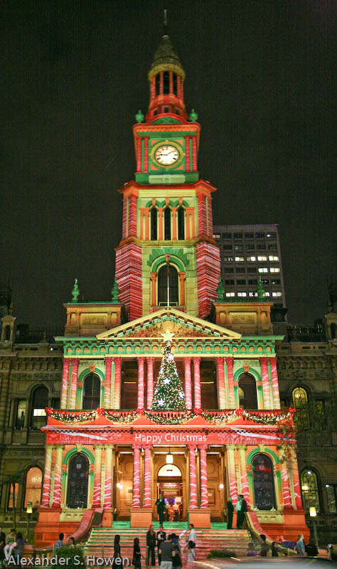 Sydney Town Hall painted with light