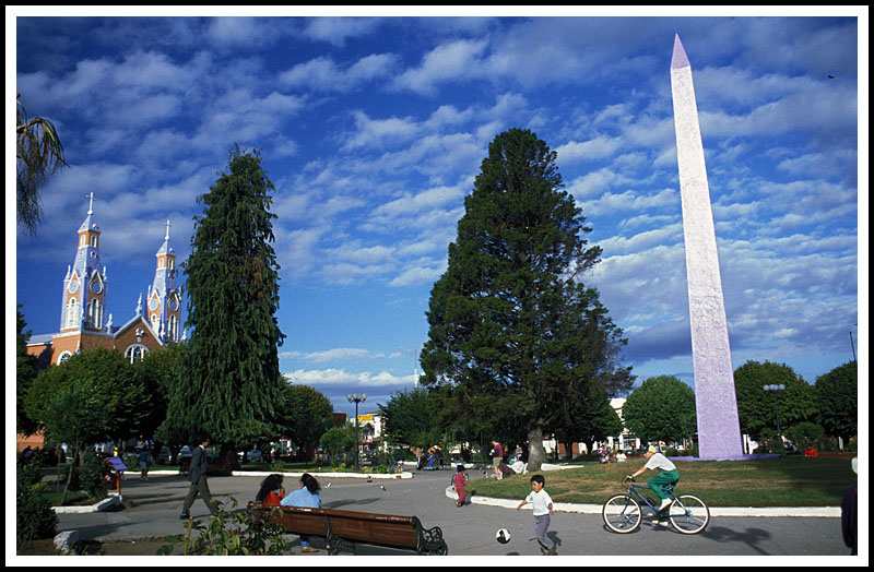 Town of Castro, cathedral, Obelisk and plaza.