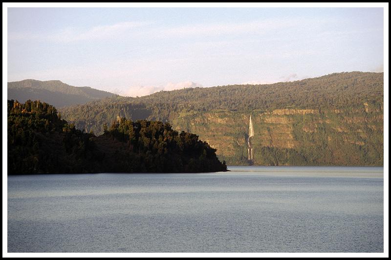 Rupanco Lake and waterfall