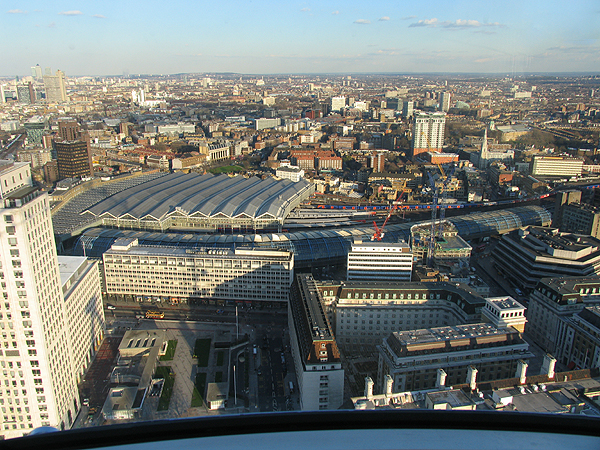 Above London, looking east (Waterloo and Waterloo International Rail Stations in the foreground)