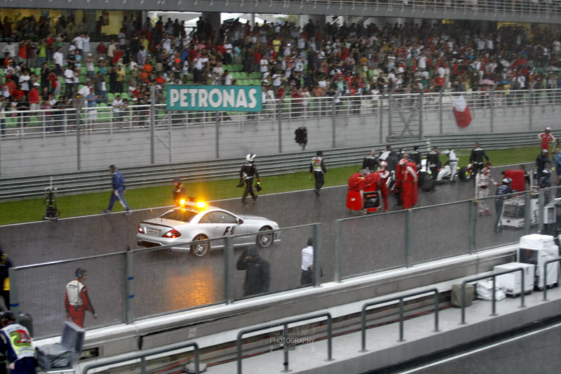 Safety car out after the race was stopped