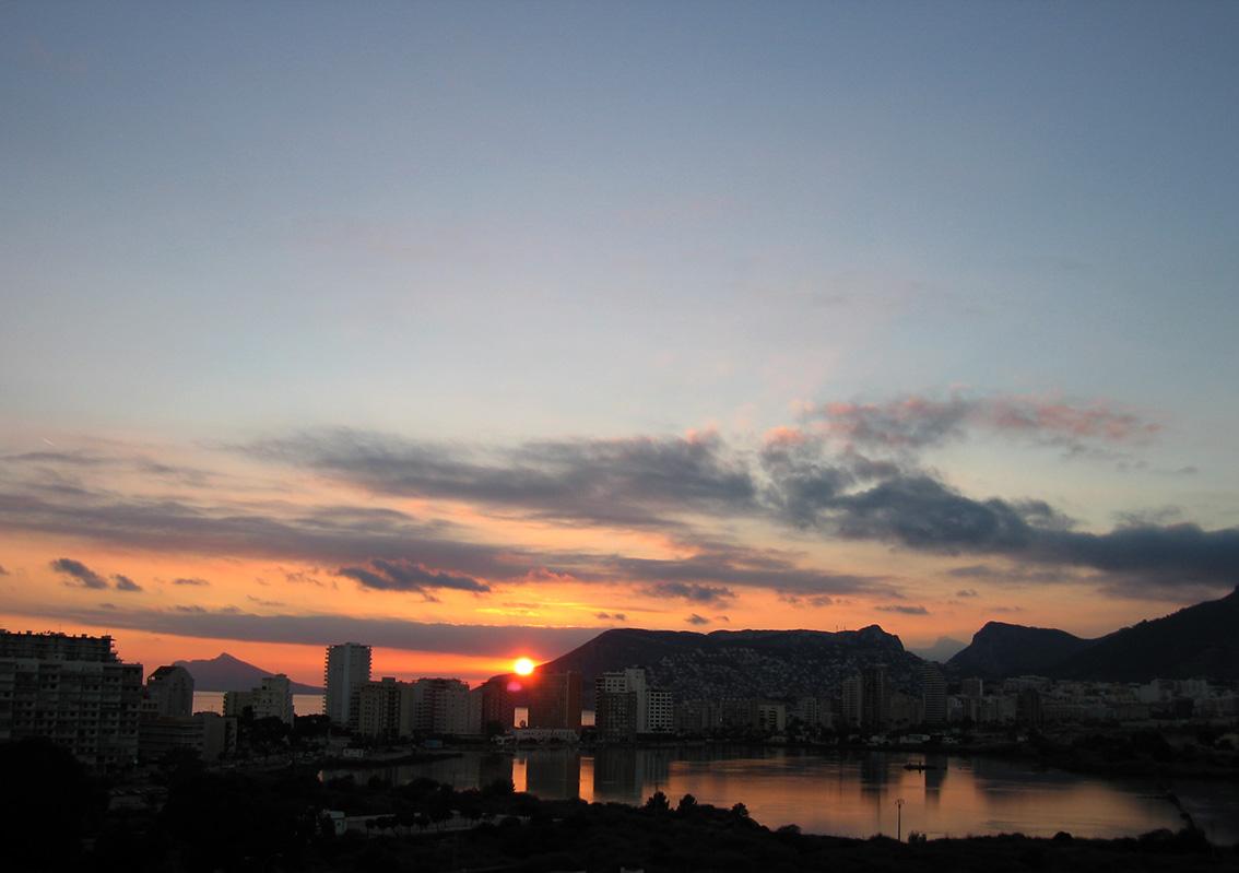 Calpe sunset beyond the saltpans and Toix
