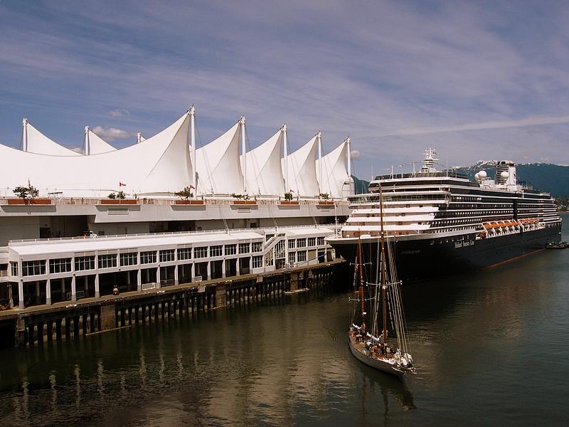 A cruise ship moored at Canada Place