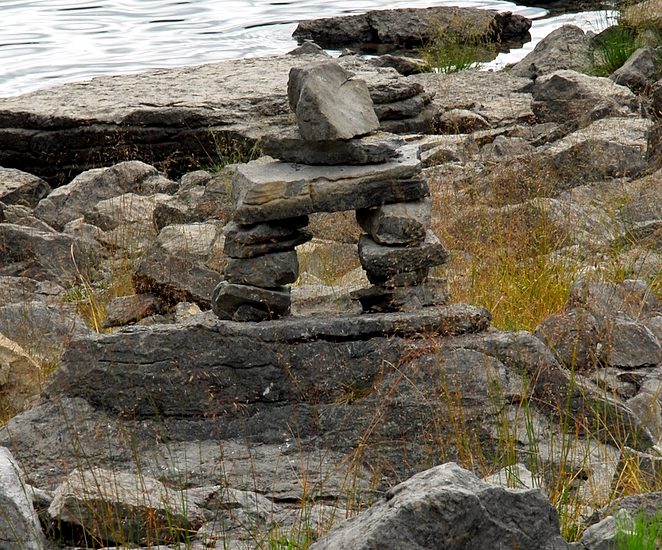 Cairn At The Edge Of Medicine Lake