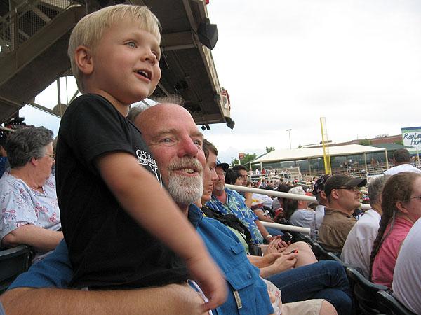 Simon & Papa watch the action