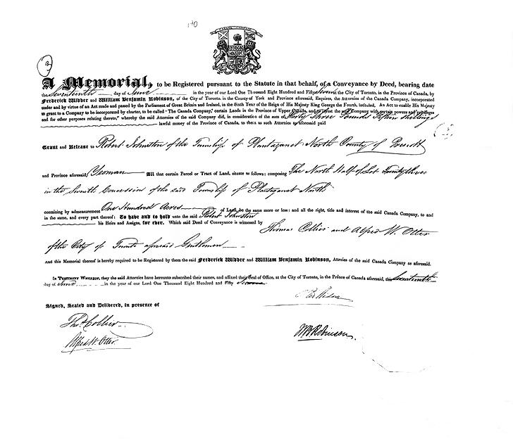 Homestead Deed, 1857 - Robert Johnston