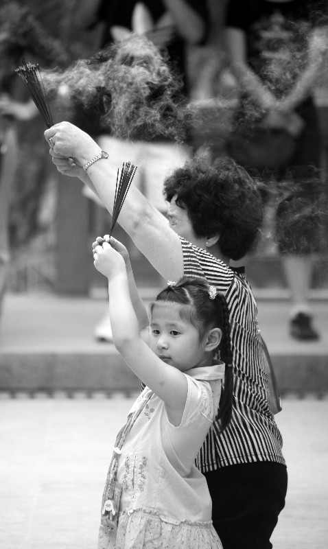 Girl with Grandmother at Wong Tai Sin Temple