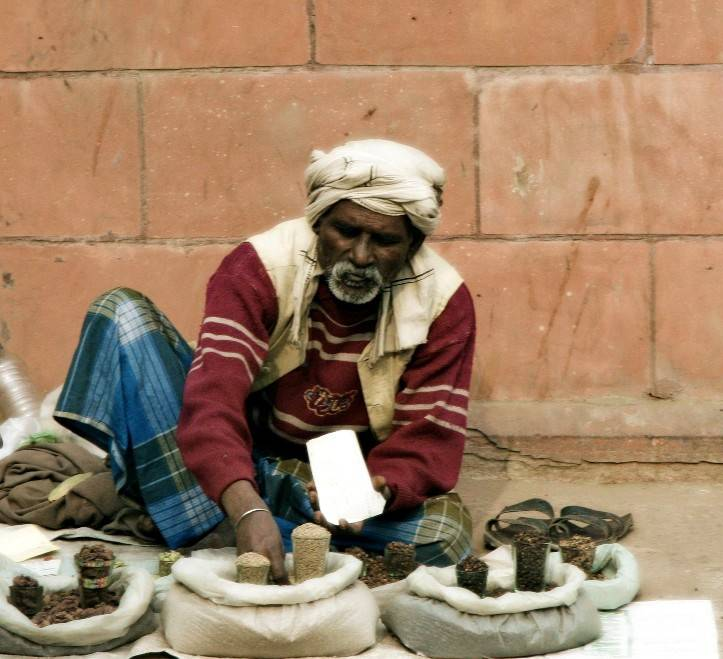 Selling Spices near Jama Masjid, Old Delhi