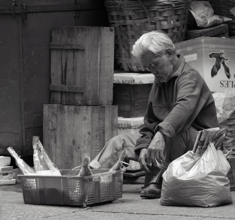 Asleep selling dried fish in Central