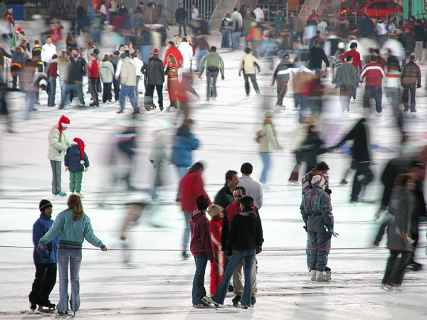 A winter ice skating arena -  Hösök Tér (Heroes Square) area