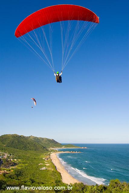 Salto de Parapente do Morro da Mole com praia da mole ao fundo, Florianopolis, Santa Catarina _0654