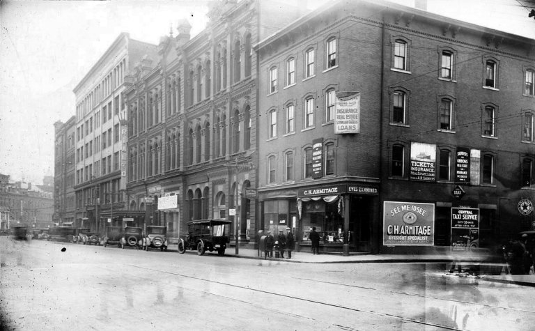 view east down Essex St from NW corner at Amesbury St.