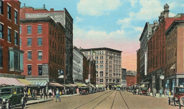 Postcard of Essex St. from Amesbury St. (Rialto on right)