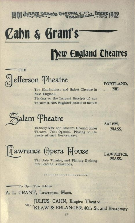Ad for Opera House in Cahns Guide