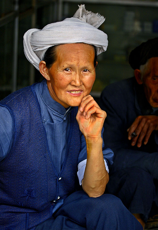 Traditional white headdress of the Miao