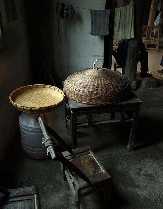 Baskets and a chair.
