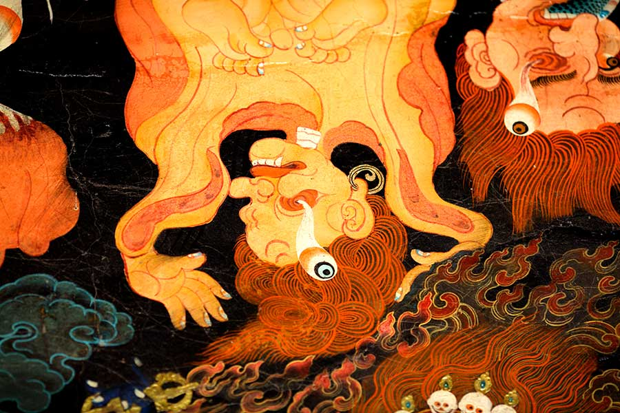 Wall painting, Nechung monastary, Lhasa