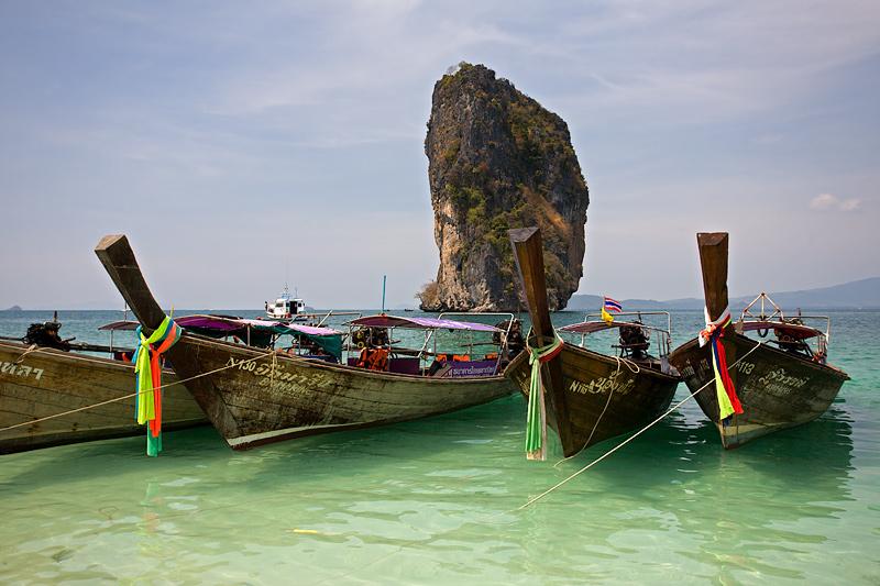Poda Island: Long-tail Boats / Limestone Cliff