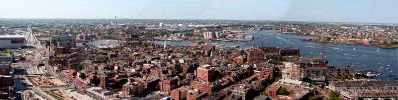 North End Panorama: Zakim Bridge to Boston Harbor