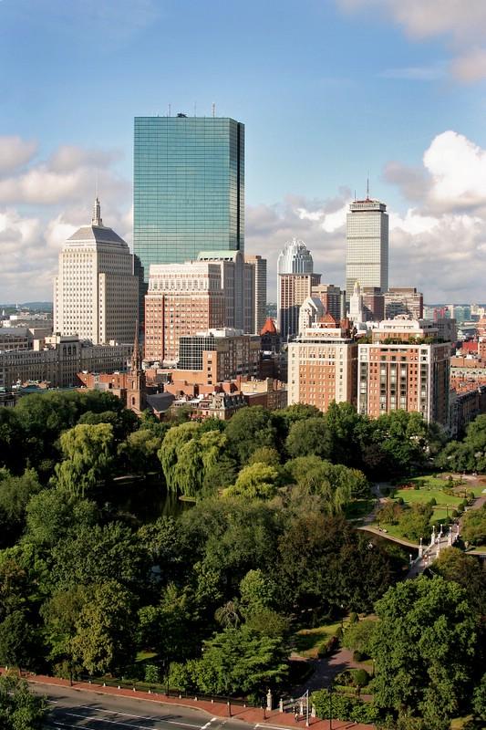 The Public Garden and Boston Skyline