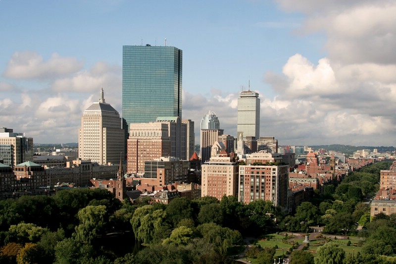 Aerial Photo of Boston Skyscrapers and Commonwealth Avenue Mall