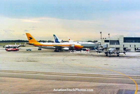 1978 - a Constellation, Aerocondor A300, Air New Zealand DC10-30, National DC-10 and cargo DC6 at MIAs E-Satellite