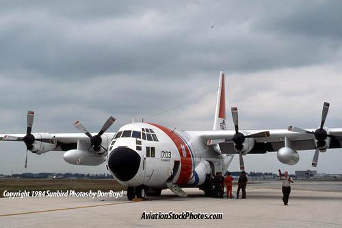 1984 - Coast Guard HC-130H #CG-1703 at MIA after emergency diversion landing military stock photo #CG8401
