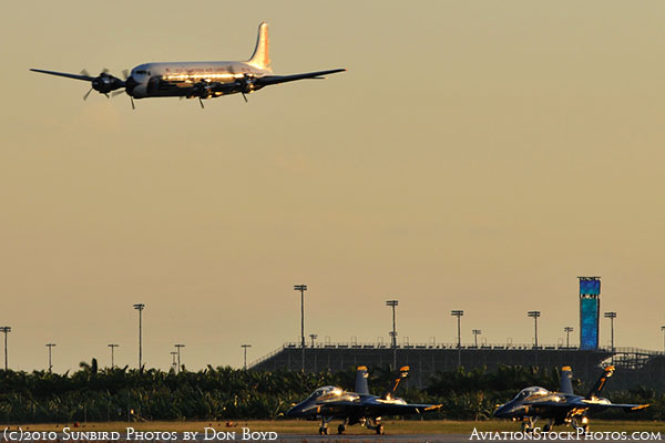 Historical Flight Foundationss restored Eastern DC-7B N836D flyby aviation stock photo #6383