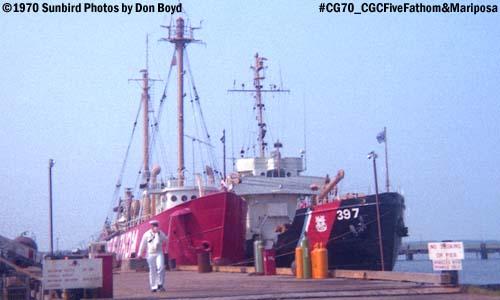 1970 - USCG Lightship Five Fathom (WAL 530) and CGC Mariposa (WLB 397) photo #CG70_