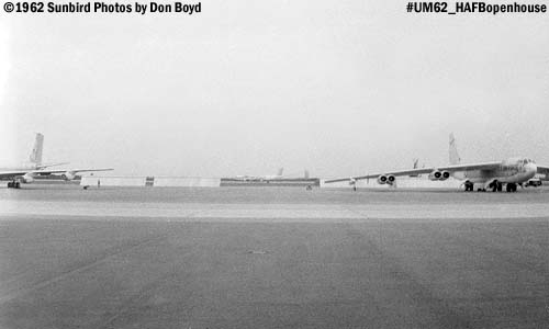 USAF KC-135 on the left, B-52 landing in the middle, B-52 on the right at the Homestead AFB Open House in 1962