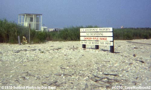 1970 - USCG Recruit Training Center Cape May viewed from the public beach photo #CG70 Cape May Tracen beach_2