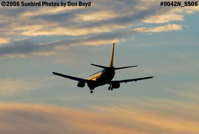 US Airways B737-400 airline aviation sunset stock photo #0042N