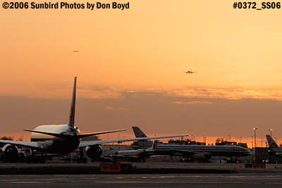 2006 - Sunset on the ramp at Miami International Airport stock photo #0372