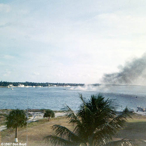 1967 - boat explosion and fire in front of CG Station Lake Worth Inlet on Peanut Island - view from lookout tower