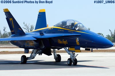 USN Blue Angels #7 F/A-18 Hornet under power at Opa-locka Airport before flight demo military air show stock photo #1007