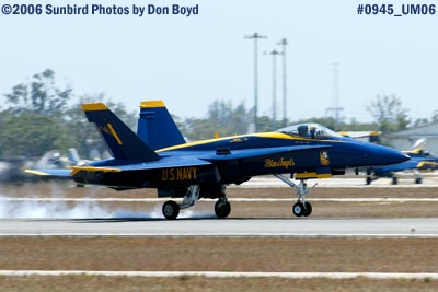 USN Blue Angel #1 landing at Opa-locka Airport military air show aviation stock photo #0945