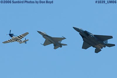 TF-51 Crazy Horse and USAF F-16 and F-15 Heritage Flight military air show aviation stock photo #1039