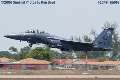 USAF McDonnell Douglas F-15E-44-MC Strike Eagle #AF87-0199 takeoff at Opa-locka Airport military air show stock photo #1048