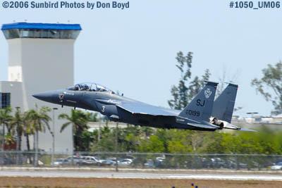 USAF McDonnell Douglas F-15E-44-MC Strike Eagle #AF87-0199 takeoff at Opa-locka Airport military air show stock photo #1050
