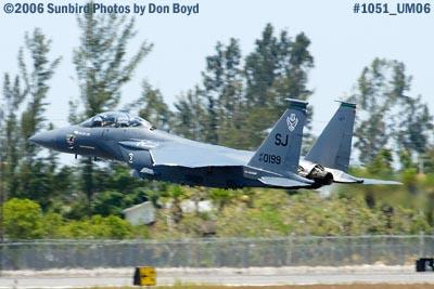 USAF McDonnell Douglas F-15E-44-MC Strike Eagle #AF87-0199 takeoff at Opa-locka Airport military air show stock photo #1051
